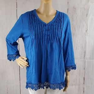 Blue Crochet Lace Trim Pleated Blouse Women Large